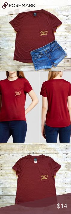 """Modern Lux maroon pocket tee Stay Golden ☀️ in this super soft tee with embroidered pocket. New without tags. 66/34 poly, rayon. Very stretchy! High low hem. Crewneck. 22""""L in front, 26""""L in back. 18"""" bust laying flat. Size medium. Modern Lux Tops Tees - Short Sleeve"""