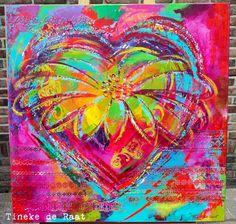 """Met een beetje pijn in mijn hart heb ik deze week het schilderij """"Colors of your heart"""" verkocht. Het schilderij bevat de kleuren waa..."""