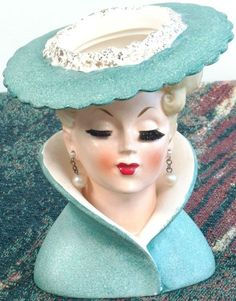1959 Napco Lady Head Vase-Green Hat/High Collar/Pearl Earrings/Red Lips.