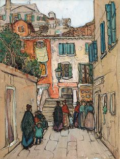 """""""Venetian Courtyard,"""" Jane Peterson, 1912, gouache and charcoal on paperboard, 23¾ x 17¾"""", private collection."""