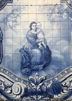 Azulejos depection of Mary and Jesus on the stairway to Santuário Nossa Senhora dos Remédios in Lamego