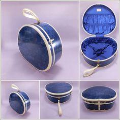 1950's Vintage Marbled Blue Train Case Hatbox Suitcase by Samsonite No. 4720
