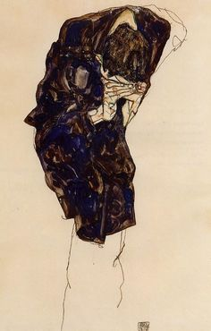 Expressionismus in Deutschland,      Egon Schiele, Man Bending Down Deeply, 1914