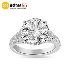 4.67 Ct Shenoa Signature Diamond Engagement Ring in Platinum. #jewelry #Diamond #rings #EngagementRing #EngagementRings #engagement #Estore55 #wedding #WeddingRing #WeddingRings #RingsForWomen #DiamondRing #gold