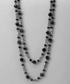 Black Twisted Bead Chain-Link Long Necklace by Little Black Dress Collection