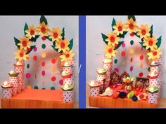 Janamashtami Decoration Ideas, Mandir Decoration, Ganpati Decoration Design, Diwali Decoration Items, Diwali Decorations At Home, Ganapati Decoration, Festival Decorations, Flower Decorations, Wedding Decorations