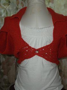 Hand knit Girls cotton shrug/ custom orders by inspirebynancy, $39.00