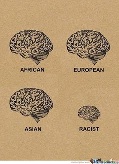 This picture goes hand-in-hand with what we discussed in class today. There are hardly any biological variance between people, look at those brains! All the brains are the same size, shape, and form, but racism is different. Also, this picture shows how racism equates to close-mindedness. Remember what Dr. Cornell West said about honest dialogue and how that would create a functioning society!