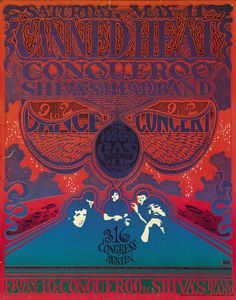 Vintage Music/Concert Poster/Psychedelic Poster/The Vulcan Gas Co./Canned Heat Rock Posters, Band Posters, Vintage Concert Posters, Vintage Posters, Psychedelic Music, Psychedelic Posters, Hippie Posters, Retro Poster, Kunst Poster