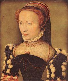 CORNEILLE DE LYON Portrait of Gabrielle de Rochechouart c. 1574 by fionasfancies via Flickr I believe her jewelry is coral beads