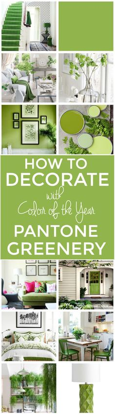 How To Decorate With Pantone Color Of The Year GREENERY! See all of the gorgeous ways you can update your home with this latest color trend - Greenery! Room ideas, furniture, wall paint colors, decor accents and more!