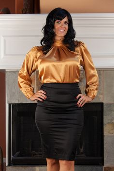 9f211ec21e4eb Plus size brown satin vest blouse. See more. Lovely Gold Blouse by  Impressions of California by VampVintageWear