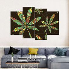 Colors Of Cannabis Multi Panel Canvas Wall Art is a beautiful addition to any decor style. Bring this stunning canvas print into your home to give it an immediate refresh and new style. Print Artist, Artist Canvas, Artist Painting, Safari Home Decor, Indie Art, Furniture Design, Kitchen Furniture, Wall Art Designs, Wall Prints
