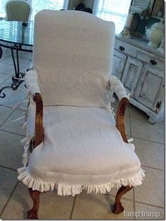 Miss Mustard Seed slip, made from drop cloth. Perfect for the French armchair.for your two blue flower chairs Miss Mustard Seeds, Slipcovers, Slipcover Sofa, Beach House Decor, Home Decor, Southern Style, Repurposed, Accent Chairs, Upholstery