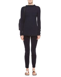 THE ROW Long-Sleeve Fitted Cashmere/Silk Sweater & Stretch-Corduroy Cropped Leggings Fall 2015