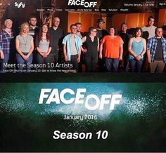 January 13th! Watch my face with your face as I face off on Face Off! Now follow everyone in this photo and start using those team hashtags!  #FaceOff #FaceOff10 #FaceOffX #FaceOffinspace #FaceOffSyFy #reality #realitytv #makeup #makeupfx #spfx #fxmakeup #tv #instashare #SyFy #frontbutt #TeamJohnny #TeamRob #TeamJennifer #TeamKaleb #TeamKatie #TeamNjoroge #TeamMel #TeamAnt #TeamGreg #TeamRobert #TeamYvonne #TeamWalter #TeamAnna #TeamMelissa