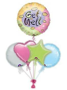 """Send Get Well Balloon Bouquets. Cheer someone up when they are poorly with this beautiful """"Happy Face"""" get well balloon or balloon bouquet. Guaranteeing a great big smile. Send get well balloon bouquets."""