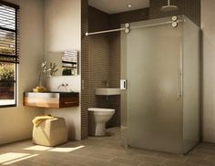 Love this concept, toilet area and shower sharing the sliding glass door