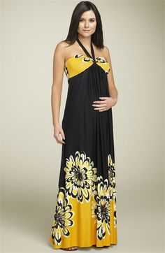 Olian Maternity Floral Halter Maxi Dress available at #Nordstrom