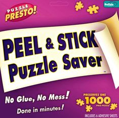 Saving your jigsaw puzzle after putting every piece together doesn't have to be a disaster! These puzzle glue sheets are a quick and easy way to glue your puzzle with no mess and no need for drying.There is no messy liquid glue or glue brushes. Simply peel off the protective paper and press it to the back of any completed puzzle. Puzzle Presto! Bonds immediately and your puzzle is saved with its original pristine finish devoid of any bubbles, streaks or color runs. Preserves up to two…
