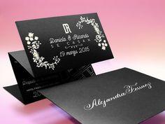 invitaciones de boda negras con blanco, elegantes, diferentes