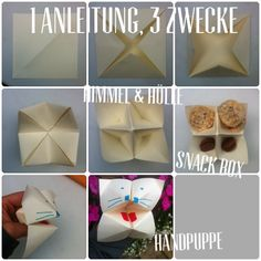 "21 papercraft ideas 1 technique - 3 ways to use Himmel & Hölle (mini game ""Heaven or Hell"") Snackbox Hand puppet"