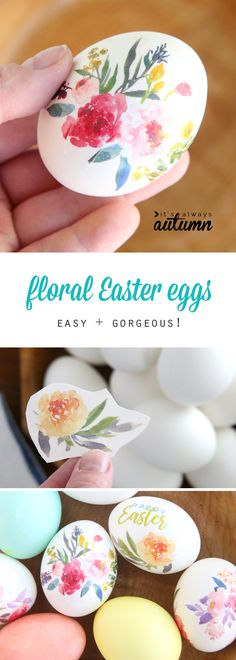 beautiful floral Easter eggs {using tattoo paper These are the prettiest Easter eggs I've ever seen! Plus they're so easy, kids can make them - you use temporary tattoo paper! Click over for the free printables. Ostern Party, Diy Ostern, Spring Crafts, Holiday Crafts, Tattoo Papier, Temporary Tattoo Paper, Crafts To Make, Diy Crafts, Diy Tattoo