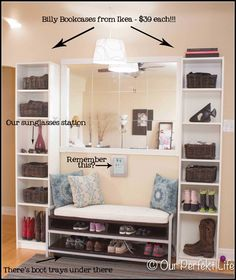 Billy bookcases from Ikea Mirrored doors with hooks  Beach gear, library books, backpack  Charging station, umbrellas