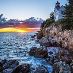 """We never tire of #sunset pics from America's #publiclands. This stunner was taken at Bass Harbor Head Lighthouse in #Acadia #NationalPark (#Maine). Photo by Jeremy Stevens (www.sharetheexperience.org)."" Photo taken by @usinterior on Instagram, pinned via the InstaPin iOS App! http://www.instapinapp.com (04/29/2015)"