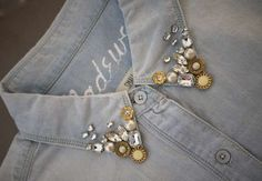 Bejeweled Jean Collars - Honestly WTF Creates a Thrifty DIY Embellished Denim Shirt (GALLERY)