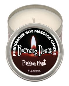 First it's a candle, then it's a massage oil! The Burning Desire Pheromone Soy Massage Candle has a fabulous Passion Fruit fragrance that fills up the room. As it melts, you can use the silky smooth oil for a warm, sensual body massage. Comes in 4 oz. tin.