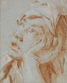 Giovanni Battista Tiepolo (Venice Spain), Head of a boy in a cap, looking up to the left, his left hand to his cheek, red and white chalk on blue paper. Portrait Drawing, Conte Drawing, Old Master, Renaissance Art, Painting, Master Drawing, Art, Portrait Painting, Portrait Art