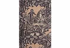 """Black and cream toile fabric. Pattern is """"Prosperity."""" Vertical repeat.  75""""L x 25""""W"""