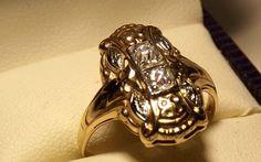 Vintage Art Deco 1920's Diamond Ring 14K Yellow by EclairJewelry, $282.00