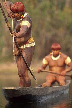Indigenous People fishing Amazon, Brazil