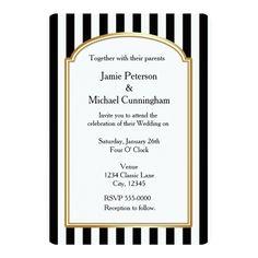Black White Striped Vertical Wedding Invitation X Invitation Card Wedding Invitations Canada, Art Deco Wedding Invitations, Black And White Wedding Invitations, Wedding Invitation Size, Elegant Wedding Invitations, Engagement Invitations, Striped Wedding, Black White Stripes, Gender