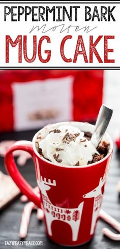 A holiday themed Chocolate Peppermint bark Molten Mug Cake! You won't believe how easy and delicious this is. The perfect treat for a cold winter night. Chocolate Peppermint Bark, Vanilla Whipped Cream, Salty Cake, Dessert Recipes, Desserts, Top Recipes, Easy Recipes, Cooking Recipes, Red Fruit