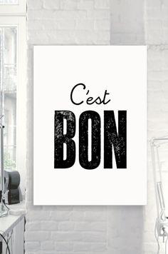 "Inspirational French Motivational Print ""C'est Bon"" Black & White Subway Art Style Typography Print Wall Decor - PRINTABLE DOWNLOAD"