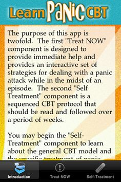 LearnPanicCBT - A self-treatment program for panic disorder that is based on Cognitive Behavior Therapy principles  #apps #counseling #stressrelief #selfhelp