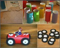 Ideas y manualidades para hacer con los peques de la casa. #ManualidadesInfantiles #Manualidades #Ninos #coche #fiestainfantil #reciclaje