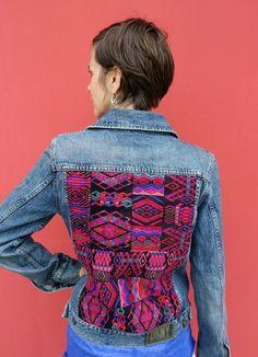 Vintage Maya Textile jean Jacket from Guatemala by ColeccionLunaVintage