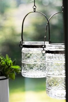 gorgeous cut glass hanging candle jars