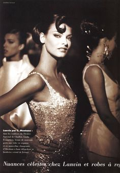 """""""Ambiance Couture"""" Linda Evangelista by Jonathan Lennard for L'Officiel France March 1992"""