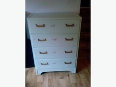 Four drawer white dresser. The drawers all work and no major flaws. Vintage White Dresser, Used Victoria, Drawers, Furniture, Home Decor, Decoration Home, Room Decor, Set Of Drawers, Home Furnishings