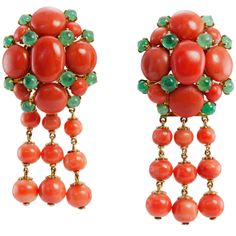 1stdibs.com   Victorian Coral and Emerald Earrings