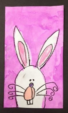 Easter Bunny step by step instructions for kids ARTventurous: oil pastels