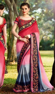 Enhance and adorn your elegance with this multicolor shade georgette and satin embroidered sari. This lovely attire is displaying some fantastic embroidery done with lace and resham work. #MulticolorShadesOfFloralBorderSari