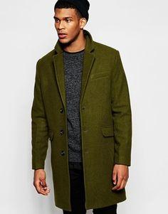 ASOS Wool Overcoat in Khaki