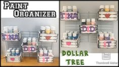 Craft Paint Storage, Paint Organization, Dollar Tree Organization, Organization Ideas, Teacher Organization, Dollar Tree Decor, Dollar Tree Crafts, Craft Shed, Space Crafts