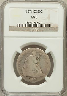 1871 CC Seated Liberty Half Dollar NGC AG3. Finger Lakes Numismatics